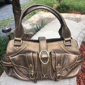 Cromia Medium Bronze Leather Satchel